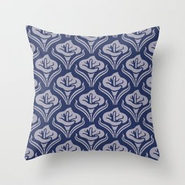 Calla Lily Pattern Blue and Gray Throw Pillow