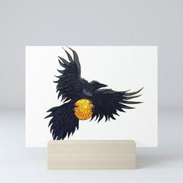 Crow Grabbing Sphere Mini Art Print