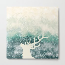 Oh Deer Green Metal Print