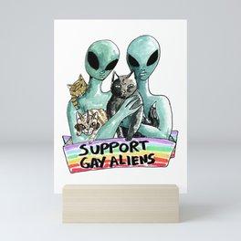 support gay aliens Mini Art Print