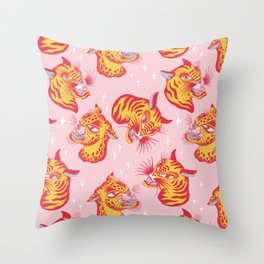 Tigerpop pattern Throw Pillow