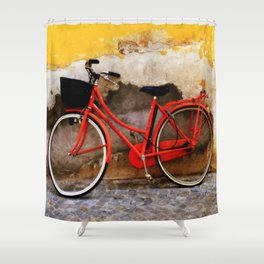 The Red Bicycle Shower Curtain