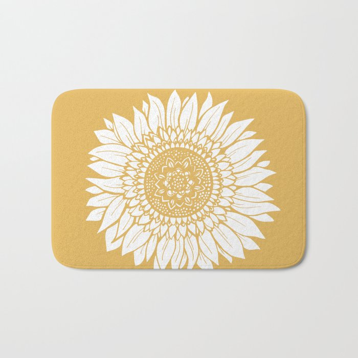 Yellow Sunflower Drawing Bath Mat