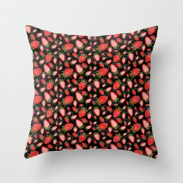 Cute strawberry and geometric heart pattern design on black #Society6 Throw Pillow