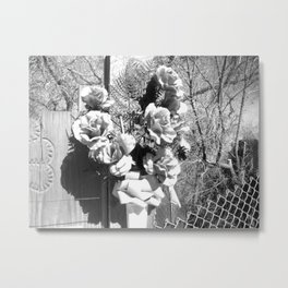 Black and White Memorial Flowers, New Mexico, Black and White Floral Landscape  Metal Print