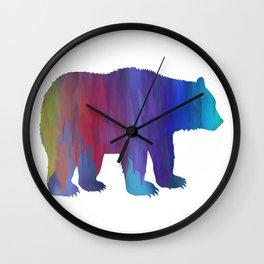 Rainbow Watercolor Dripping Bear Wall Clock