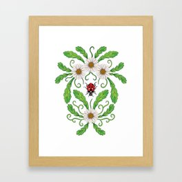 Ladybugs & Daisies - Cute Floral Bug Pattern with Ladybirds Framed Art Print