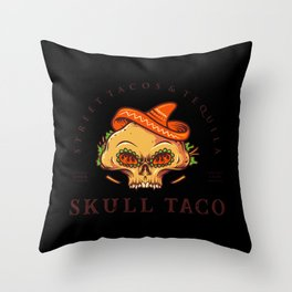 Street tacos and tequila skull taco mexican food Throw Pillow