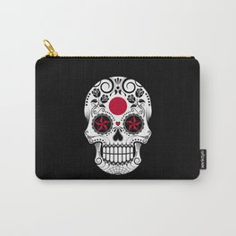 Sugar Skull with Roses and Flag of Japan Carry-All Pouch