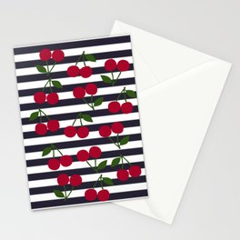 Cherry stripe pattern Stationery Cards