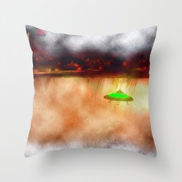 UFO Visits Niagra Falls Throw Pillow