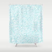 sharks Shower Curtains featuring Sharks! by Ptchew