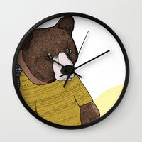 nike Wall Clocks featuring Bear in Nike by Diana Hope