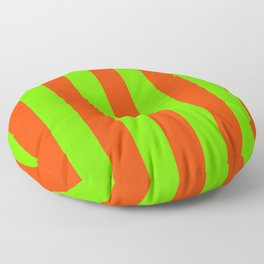 Bright Neon Green and Orange Vertical Cabana Tent Stripes Floor Pillow