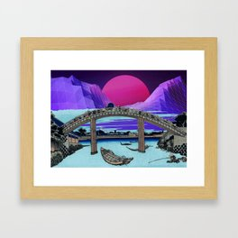 Synthwave Space: 36 views of mount Fuji #1 Framed Art Print
