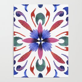 Floral ornament. Watercolor Poster