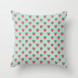 Strawberry Love Hearts and Love Birds Throw Pillow