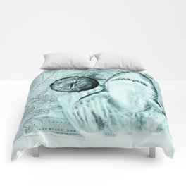 Great White Shark Compass Map Green Comforters