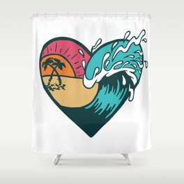 Wave Heart Shower Curtain