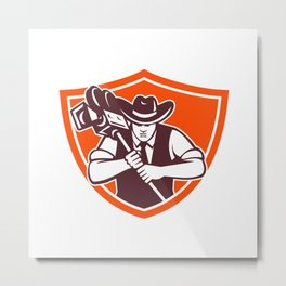 Cowboy Camera Operator Shield Metal Print