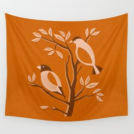 Burnt Orange Mid Century Birds On Branches Wall Tapestry