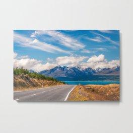Amazing alpine scenery on a road trip in New Zealand Metal Print