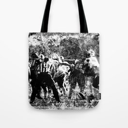 College Football Art, Black And White Tote Bag