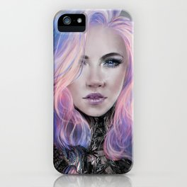 Futuristic sci-fi girl with pink hair portrait iPhone Case