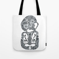 tiki Tote Bags featuring Tiki  by AndreaGeddes