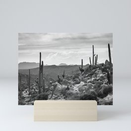 Black and White Desert Landscape With Saguaros Mini Art Print