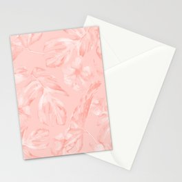 Tropical Dream Palm Leaves Pink Stationery Cards