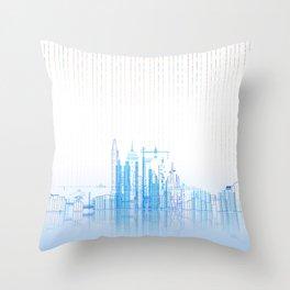 Winter Sky Lines City Lake Throw Pillow