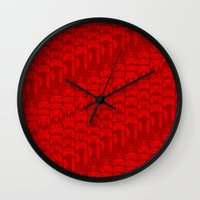 video game Wall Clocks featuring Video Game Controllers - Red by C.Rhodes Design