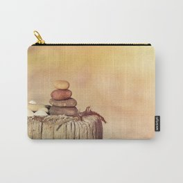Balanced stone cairn in sunset light Carry-All Pouch