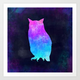 OWL IN SPACE // Animal Graphic Art // Watercolor Canvas Painting // Modern Minimal Cute Art Print