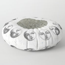 the moon's cycle on white Floor Pillow