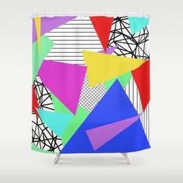 Bits And Pieces - Retro, random, abstract pattern Shower Curtain