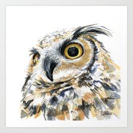 Owl Great Horned Bird of Prey Owls Animals Bird Wildlife Art Print