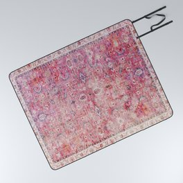 N45 - Pink Vintage Traditional Moroccan Boho & Farmhouse Style Artwork. Picnic Blanket