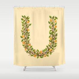 Leafy Letter U Shower Curtain