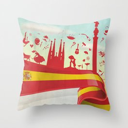Spain Element on Flag with sky background Throw Pillow