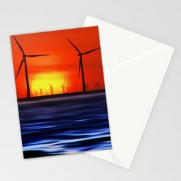 Wind Farms in the Sunset (Digital Art) Stationery Cards