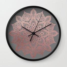 Rose Gold Mandala Wall Clock