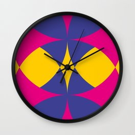 A lot of colored circles intersecting each others and forming eye shaped shapes. And a flower maybe. Wall Clock