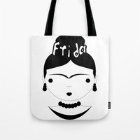 frida Tote Bags featuring Frida by stavrina inno
