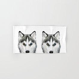 Siberian Husky dog with two eye color Dog illustration original painting print Hand & Bath Towel