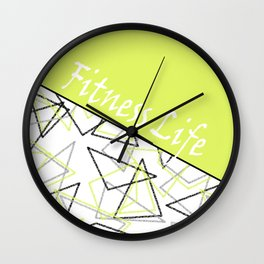 The fitness club . Sport . Lemon white creative sport pattern . Wall Clock