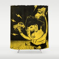 truck Shower Curtains featuring Truck Fighter! by ChrisNygaard