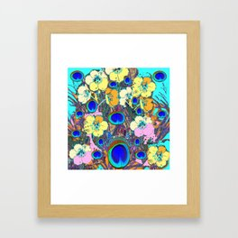Modern Art Nouveau Peacock Jeweled Floral Blue Patterns Framed Art Print