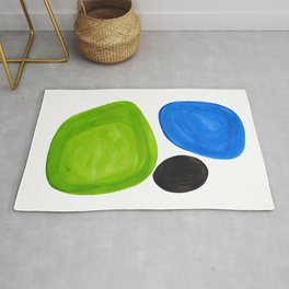 Mid Century Vintage Abstract Minimalist Colorful Pop Art Lime Green Phthalo Blue Black Bubbles Rug